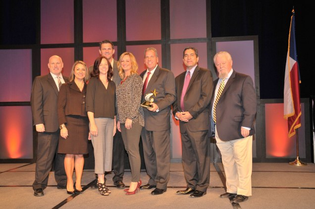 On Nov. 19, Chevron Phillips Chemical was named Texas Workforce Solutions 2015 Employer of the Year at the Texas Workforce Conference. Pictured from left: Chevron Phillips Chemical Talent Acquisition Manager Kip Welch; TWC Commissioner Representing Employers Ruth R. Hughs; Chevron Phillips Chemical Human Resources Manager-Baytown Julie Fleet; Chevron Phillips Chemical Training and Development Superintendent-Baytown Roy Watson; Chevron Phillips Chemical Community Relations Representative-Baytown Heather Betancourt; Chevron Phillips Chemical Vice President of Human Resources Greg Wagner; TWC Chairman and Commissioner Representing the Public Andres Alcantar; TWC Commissioner Representing Labor Ronny Congleton.