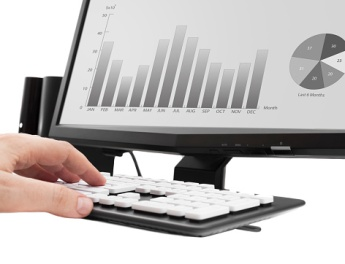 stock image of monitor with chart and pie graph