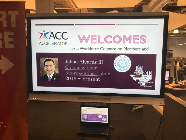 ACC ACCelerator displayed a greeting for TWC Commissioner Alvarez on monitor featuring a photo of him and a welcome message.