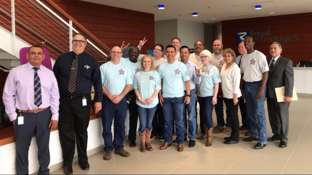 Royal Technologies takes TWC Texas Two Step Program Staff on a tour of their manufacturing facility.