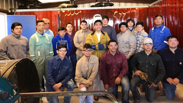 Welding students at San Diego High School talk about the benefits of their CTE education with TWC Commissioner Julian Alvarez.