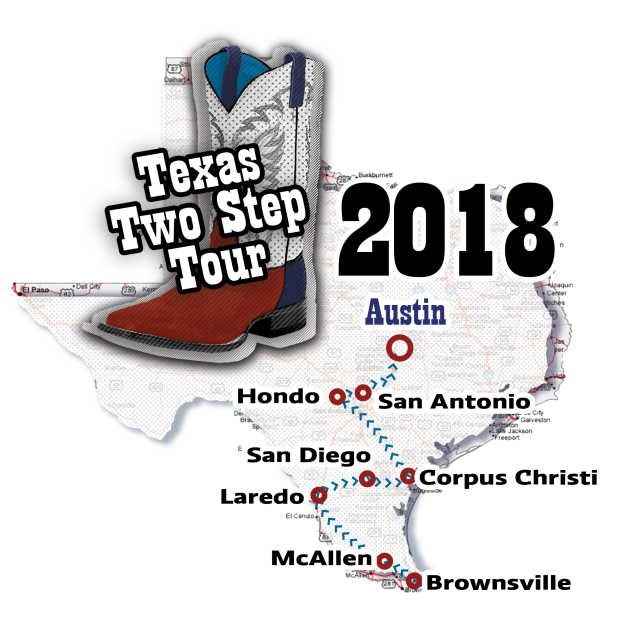 Texas Two Step Boot Tour logo and map of Workforce Board areas that were visited in South Texas