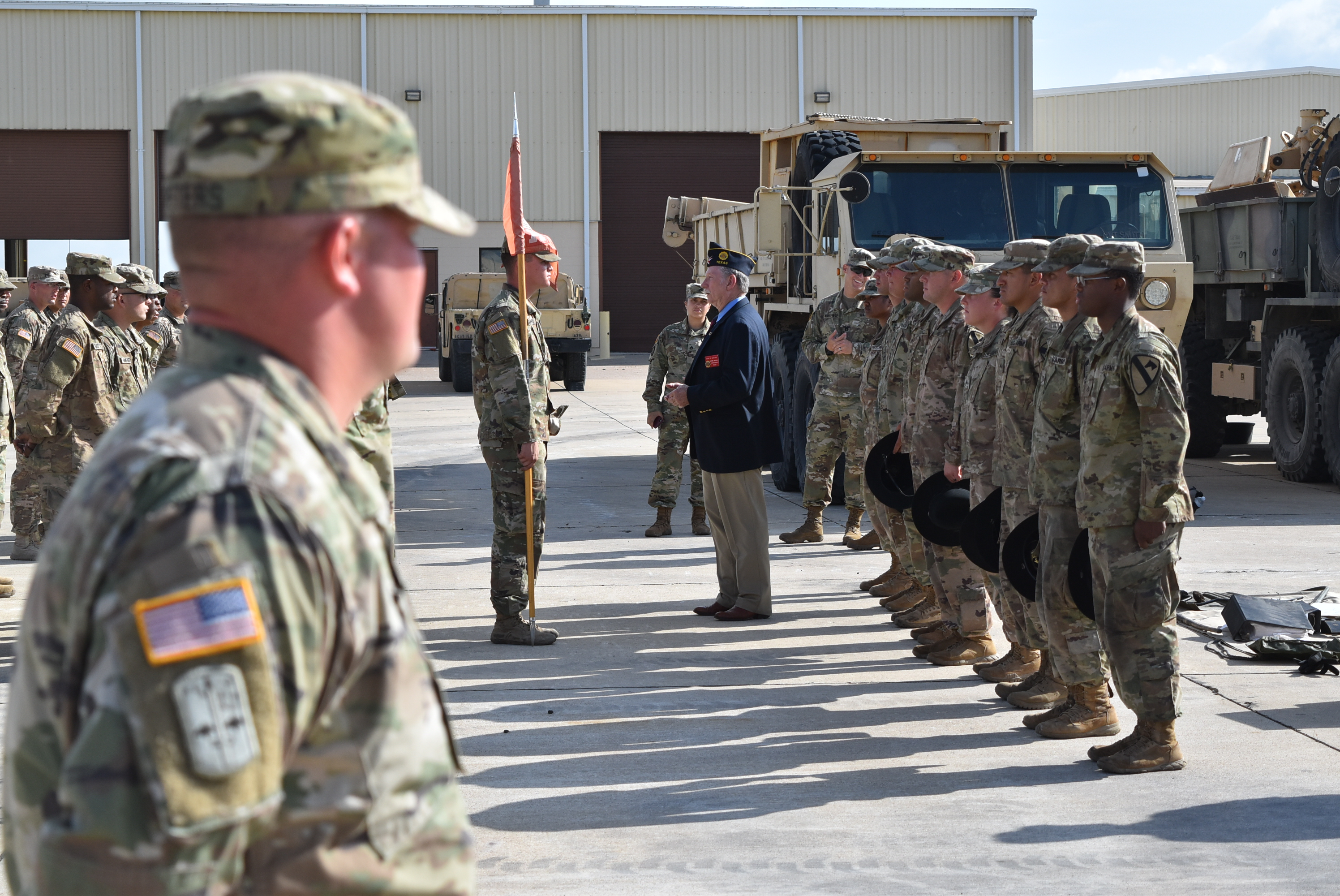 PHOTO: John McKinny with the American Legion - Department of Texas, speaks to soldiers with the 3rd Brigade Engineer Battalion of the 1st Cavalry Division.