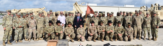 PHOTO: U.S. Army Soldiers with the 3rd Brigade Engineer Battalion of the 1st Cavalry Division pose with John McKinny of the American Legion - Department of Texas, and TWC Texas Veterans Leadership Program Manager Jeff Singh.