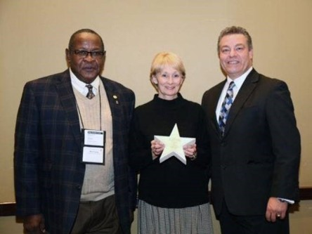 Permian Basin Workforce Development Board CEO Willie Taylor (left) with Mary Dunlap, senior human resources manager, and Mark Horner, senior human resources manager, at Warren Equipment Company at a Texas Workforce Conference in 2017.
