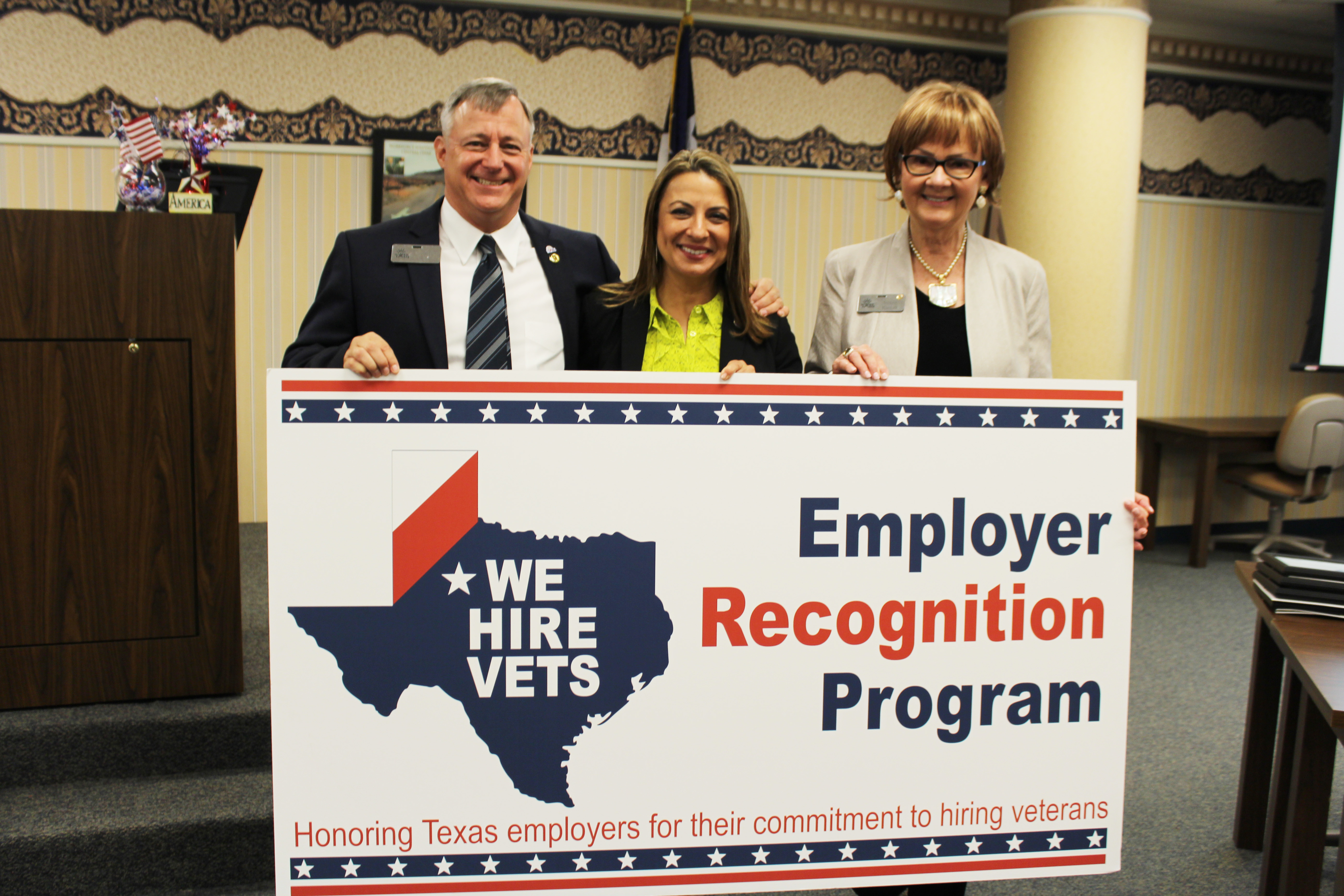 "PHOTO: Workforce Solutions of Central Texas COO Ken Cox, TWC Commissioner Representing Employers Ruth R. Hughs, and Central Texas Workforce Development Board Executive Director Susan Kamas, at the Killeen ""We Hire Vets"" event."