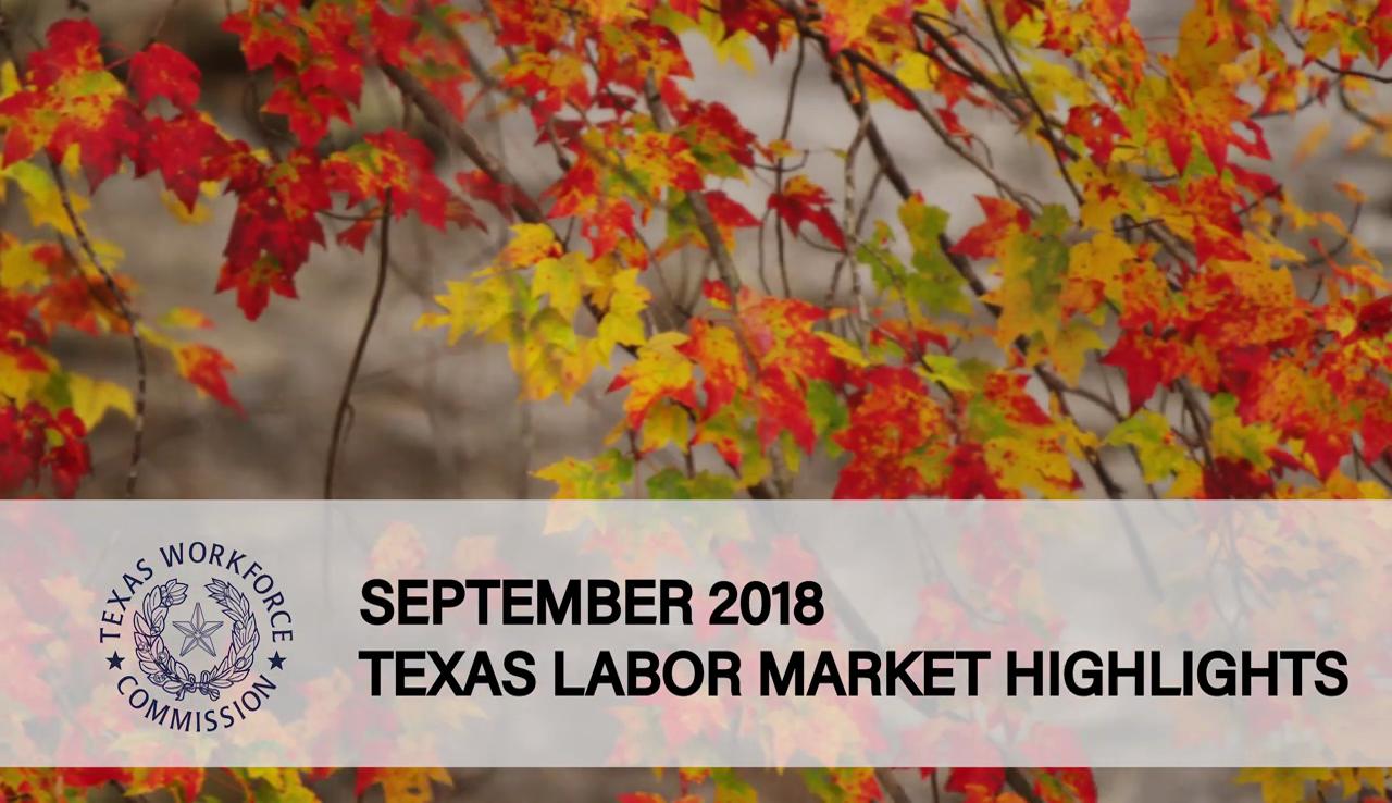 TWC September 2018 Texas Labor Market Data