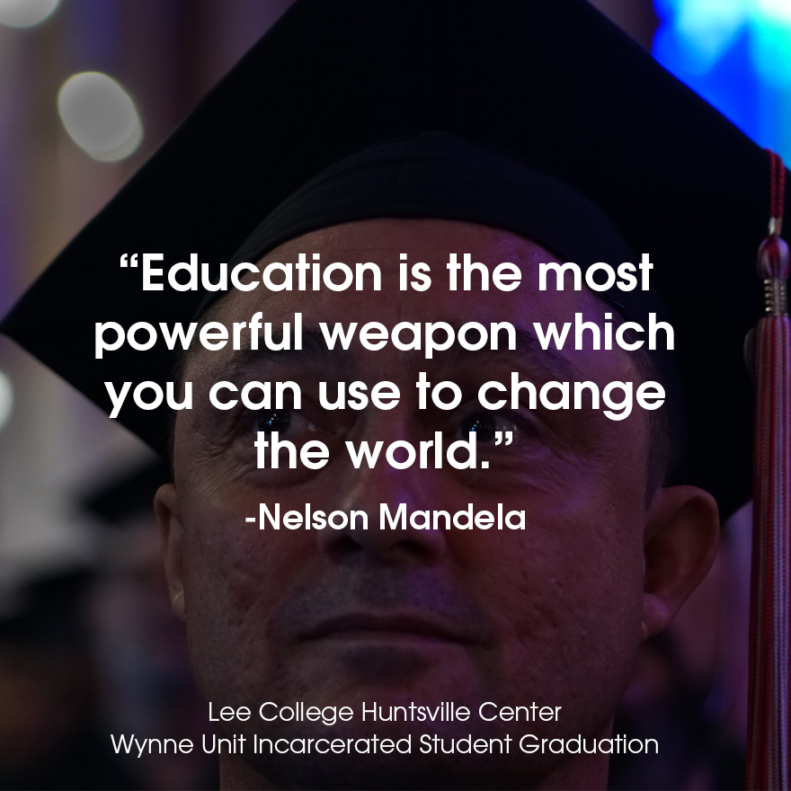 "A graduating inmate looking to the left with a Nelson Mandela quote that reads, ""Education is the most poweful weapon which you can use to change the world."""